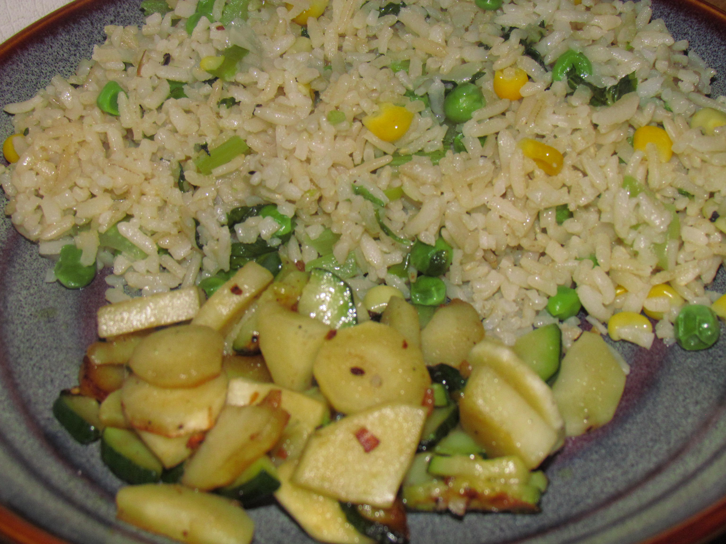 Rice, Zucchini & Parsnip in coconut oil & Sea Salt